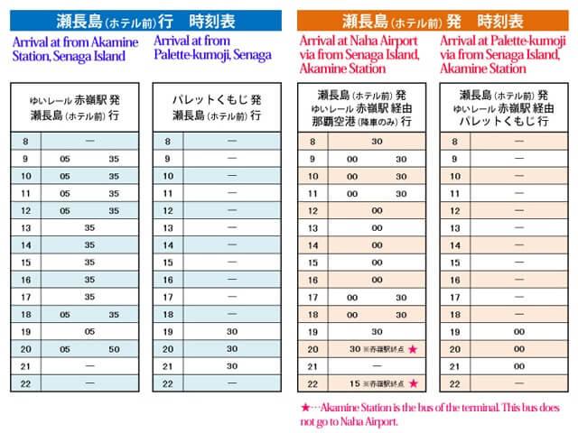 瀬長島発着の無料バス時刻表
