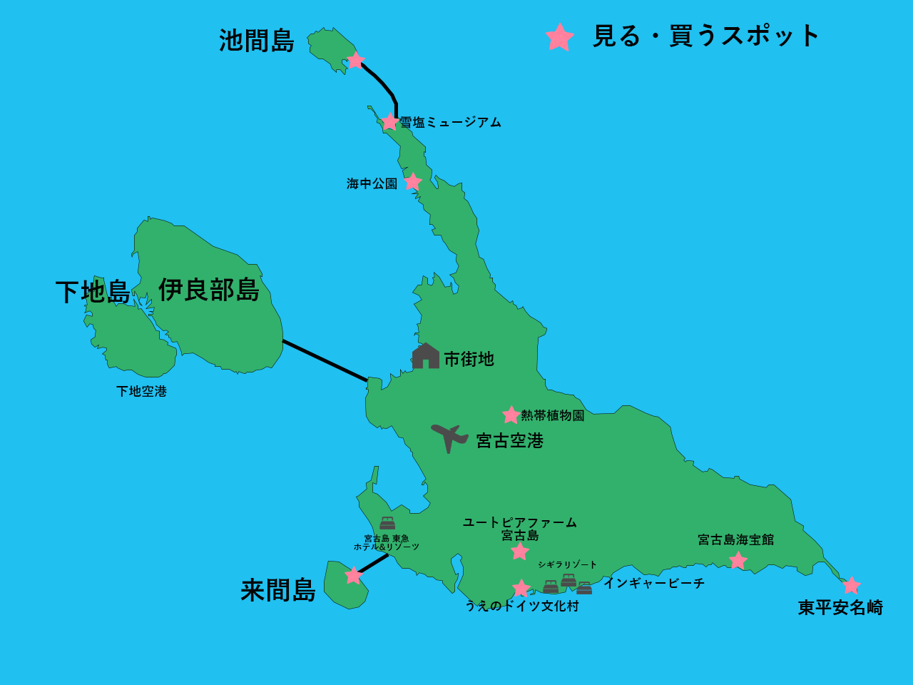 宮古島・観光地マップ