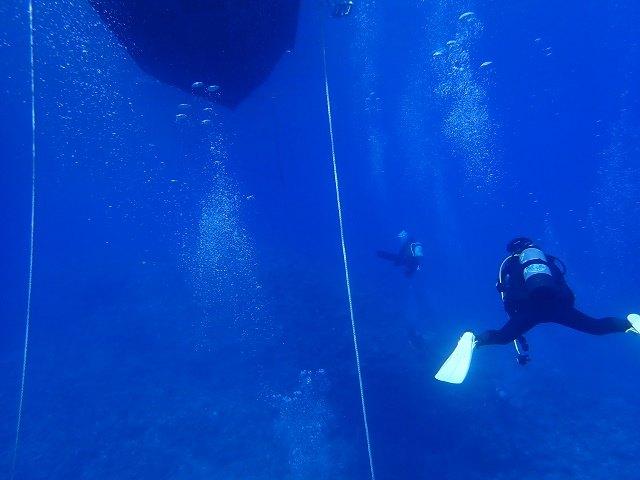 久米島 ダイビング 深い海をもぐるダイバー