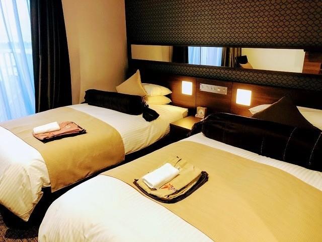 ホテルミヤヒラ ハイフロアオーシャンビューツイン ベッド