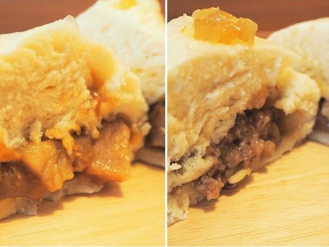 沖縄 TangTang 角煮油味噌まんと牛まんの断面図