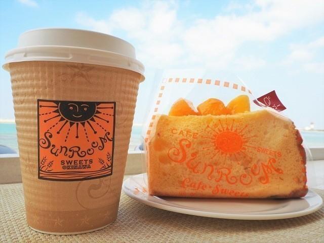 沖縄 サンルームスイーツ マンゴークリームシフォンとドリンク