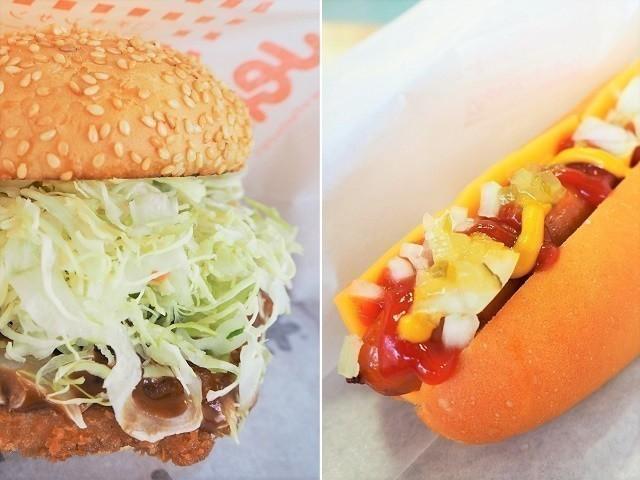 沖縄 Jef ロース勝つバーガーとWinnerチーズドッグ