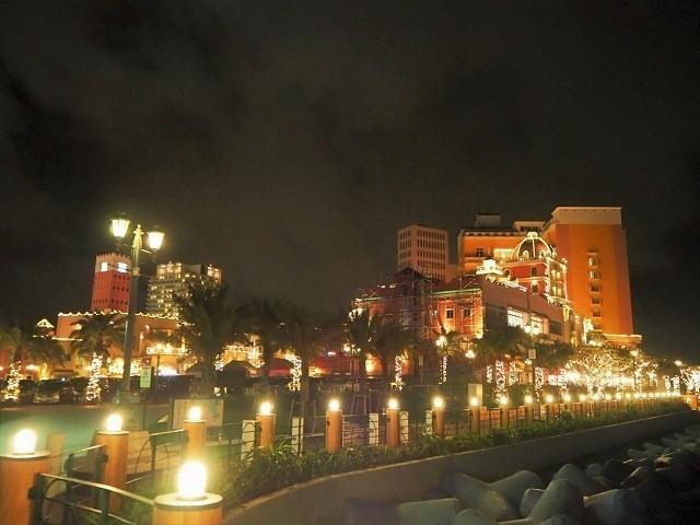 沖縄 夜ドライブ アメリカンビレッジ サンセットウォーク側