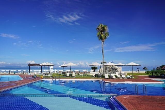 オクマプライベートビーチ&リゾート ヤシの木がたたずむ屋外プール